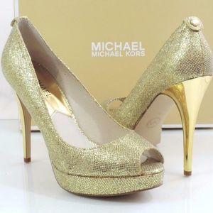 Michael Kors Open Toe Gold Platform Heels